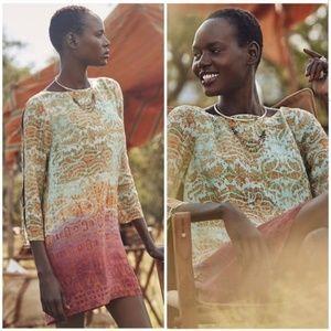Anthropologie Maeve cleome 100% silk tunic dress